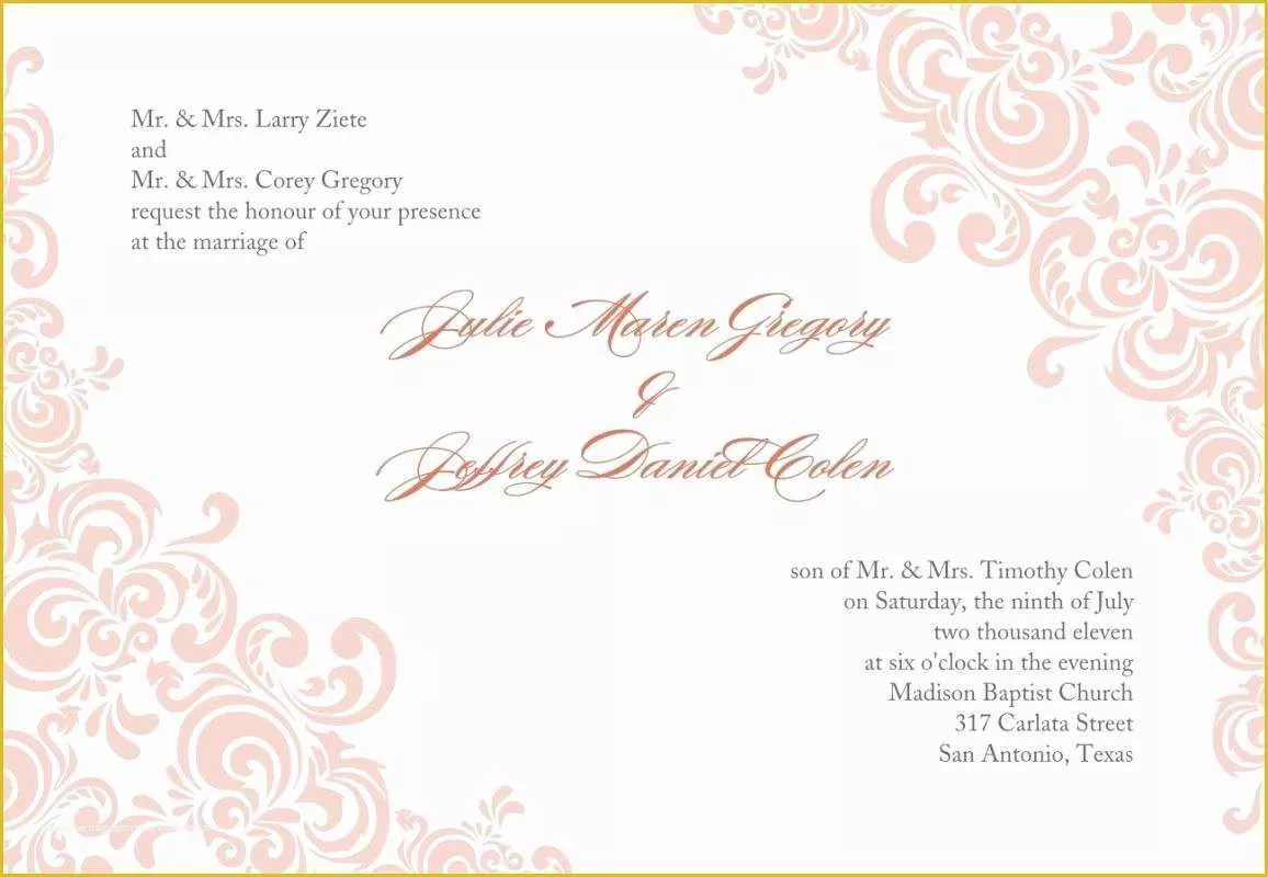 Free Printable Wedding Invitation Templates For Word Of