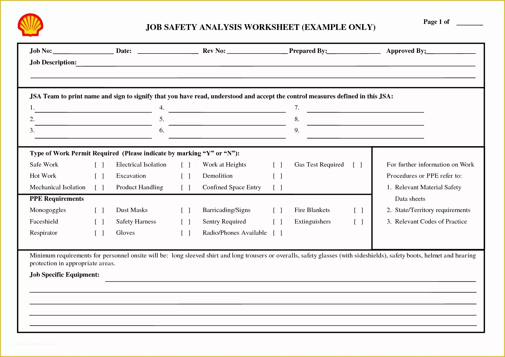 Job Safetyysis Template Free Of 13 Best Of Job Hazard