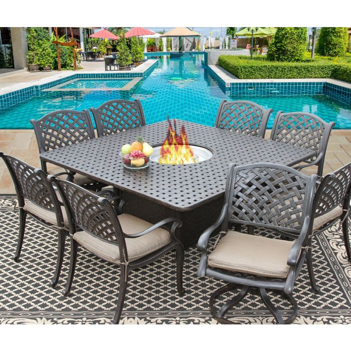 nassau 64x64 square outdoor patio 9pc dining set for 8 person with fire table series 7000 atlas antique bronze finish