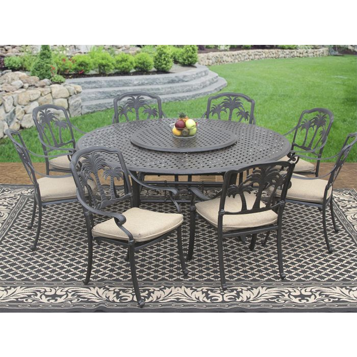 palm tree cast aluminum outdoor patio 9pc set 8 dining chairs 71 inch round table 35