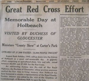 AOS P 1747 red cross agricultural show, carters park holbeach 1943 newspaper