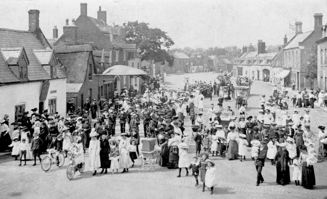 Parade in North Street, Crowland. Possibly early 1900's