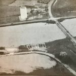 Birdseye view of the River Welland flooding into farmland at Crowland