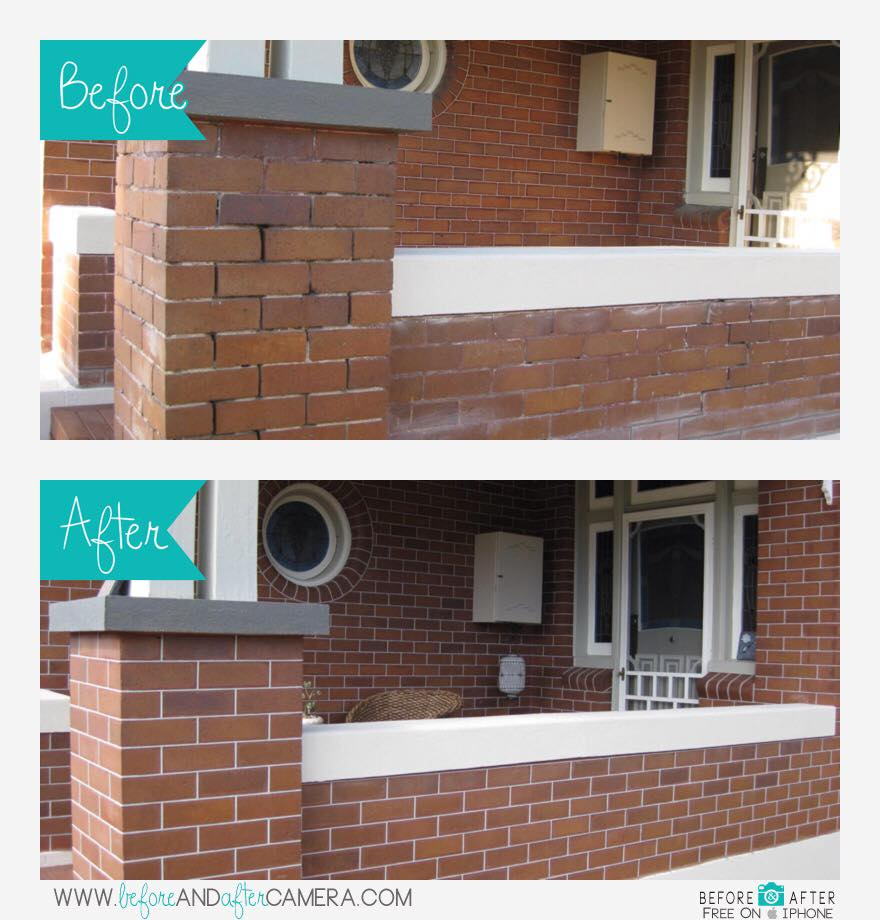 Tuckpointing before and after - Maitland