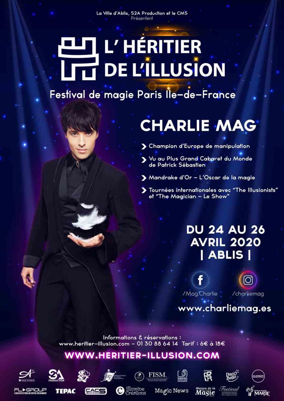 Affiche L'Héritier de l'Illusion Charlie Mag Champion d'Europe de magie