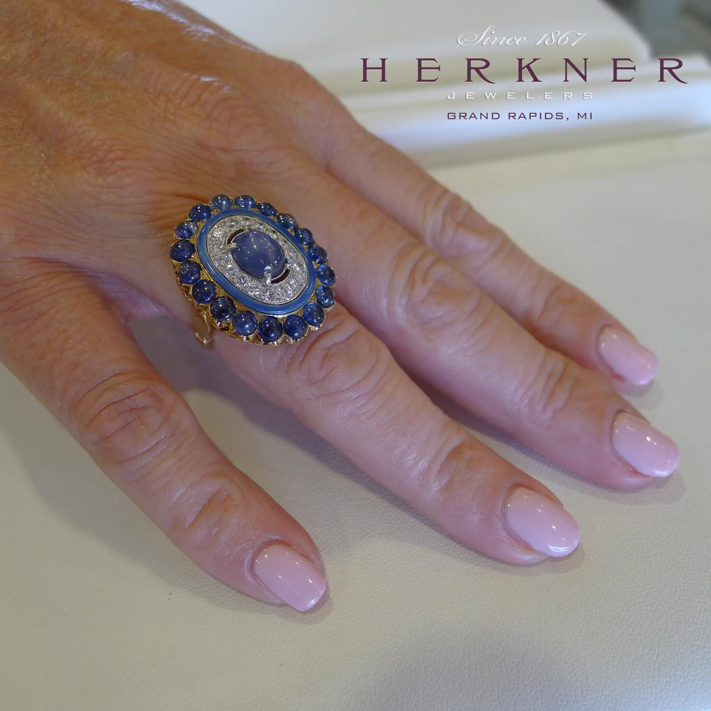Blue Cabochon Sapphire and Diamond Ring