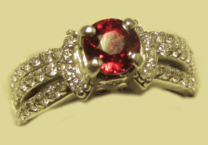 18k White Gold ring with Round Ruby and Diamonds