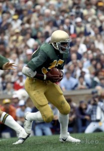 Notre Dame Irish running back #32 Vagas Ferguson in action during the 1979 season at Notre Dame Stadium. Photo: US Presswire.