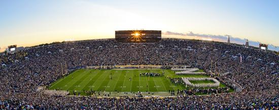 Notre Dame stadium at sunset. Photo: Matt Cashore.