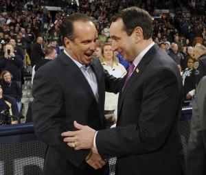 Notre Dame Mike Brey, left, and Duke coach Mike Krzyzewski chat. (AP Photo/Joe Raymond)