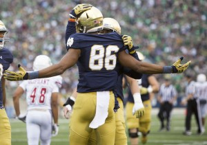 Notre Dame's Josh Equanimeous St. Brown celebrates a touchdown during the Fighting Irish's game against the University of Massachusetts. (SBT Photo/ Becky Malewitz)