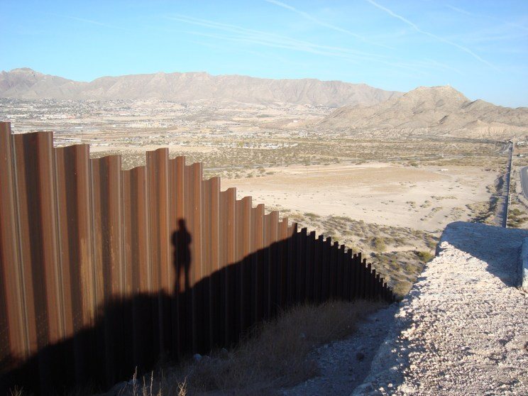 photo by dawn paley, flickr. the border wall, from the mexican side, where Mexico, New Mexico and Texas meet.