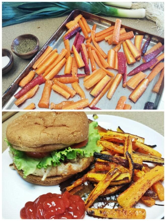 Carrot Fries + BBQ Turkey Burger