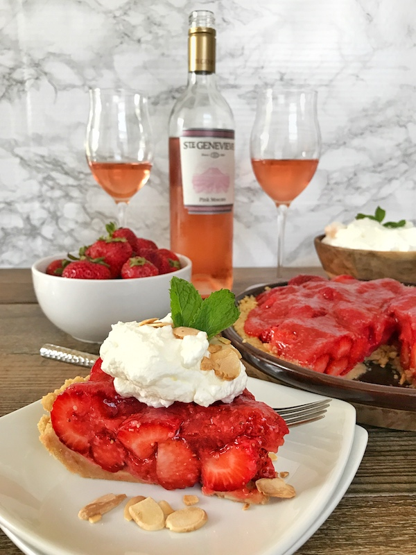 Chilled Strawberry Shortbread Pie & Wine