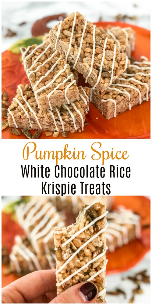 Pumpkin Spice White Chocolate Rice Krispie Treats Pin