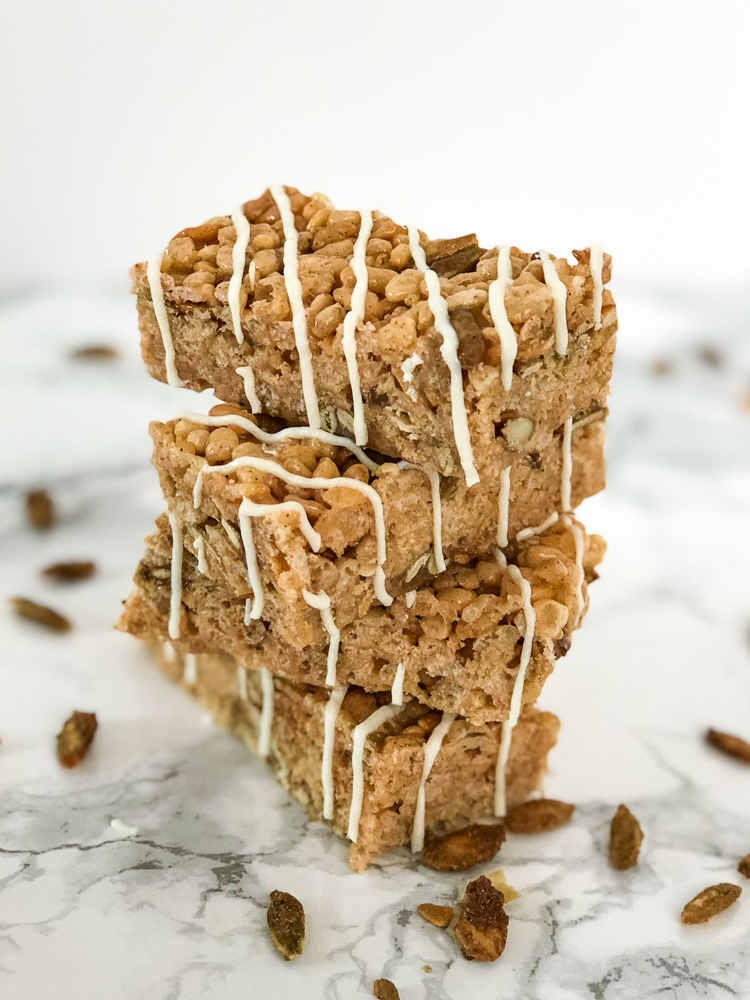 Pumpkin Spice White Chocolate Rice Krispie Treats Stacked