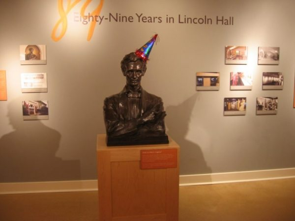 Abe wears a Party hat in celebration of the Spurlock Museum's 100th birthday.