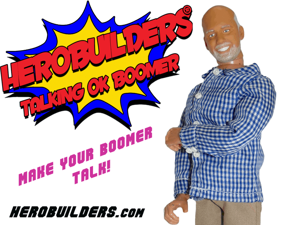 Showing a talking programmable action figure OK BOOMER of and older man what is known as Boomer.