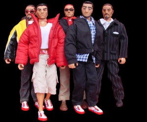 Group images of customized action figures