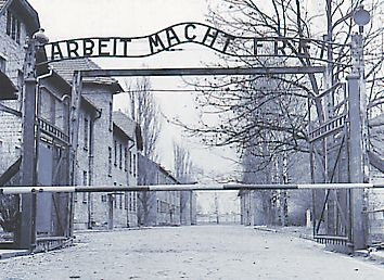 Entrance of Auschwitz genocide camp
