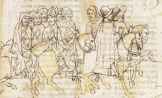 Le corps du Cid, assis sur son cheval, est rapatrié en Castille, Chronique d'Alphonse X (1429)