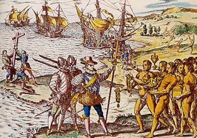 Colomb débarque à Hispaniola (gravure de Théodore de Bry, XVIe siècle, BNF)
