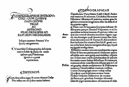 Le célèbre texte de Waldseemüller (avec America dans la marge, au milieu)
