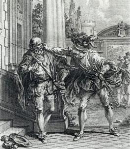 Don Diègue et le comte – Illustration d'Hubert Gravelot, 1762