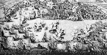 Bombardement de Gênes (gravure, BNF)