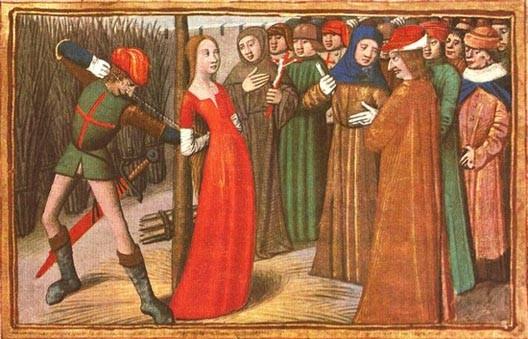 Jeanne d'Arc au bûcher, miniature(Les Vigiles de Charles VII, manuscrit réalisé par Martial d'Auvergne en 1477-1483, BNF)