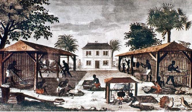 Habitation aux Antilles au XVIIIe siècle (gravure d'époque, médiathèque de l'architecture et du patrimoine)