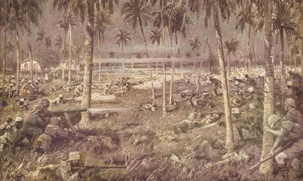 Bataille de Tanga , 3 novembre 1914, Martin Frost (peintre de guerre allemand).