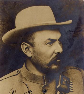 Général Louis Botha, chef des boers, avec signature personnelle, carte postale vers 1900.