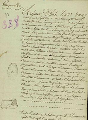 Le 4 avril 1789, Pierre Nicolas Legendre est le premier comparant dans le registre des cahiers de doléance de la paroisse d'Heuqueville, Archives de l'Eure, 17 B 3/58.