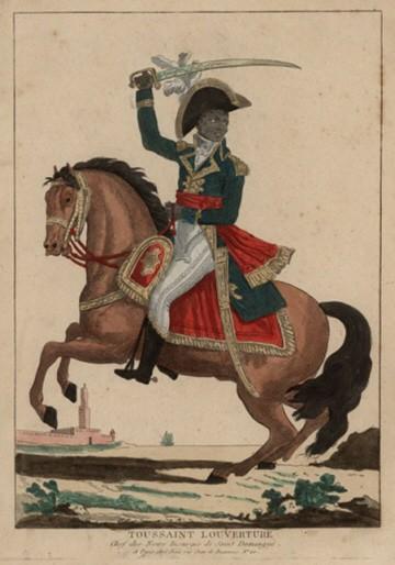 Toussaint L'ouverture (1743-1803) ; agrandissement : portrait équestre de Toussaint Louverture sur son cheval Bel-Argent par Denis Volozan vers 1800 (Musée d'Aquitaine)