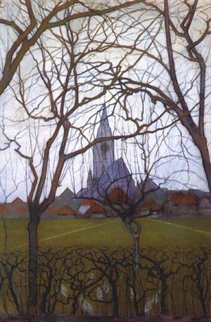 Pietr Mondrian, L'Église du village, 1898, collection privée