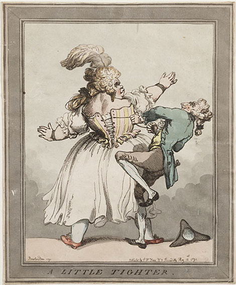 Thomas Rowlandson, A Little Tighter, estampe coloriée, 1791