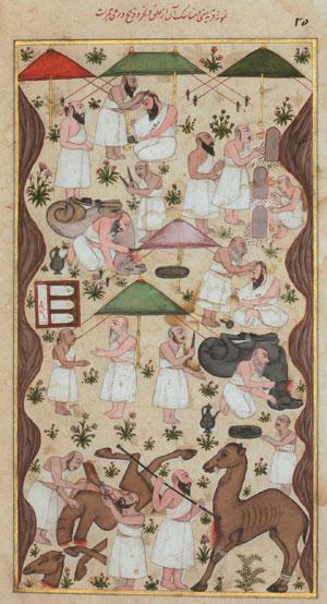 Pèlerins musulmans dans la plaine de Mina, pendant le grand pèlerinage (miniature indo-persane de la fin du XVIIe siècle, Londres)