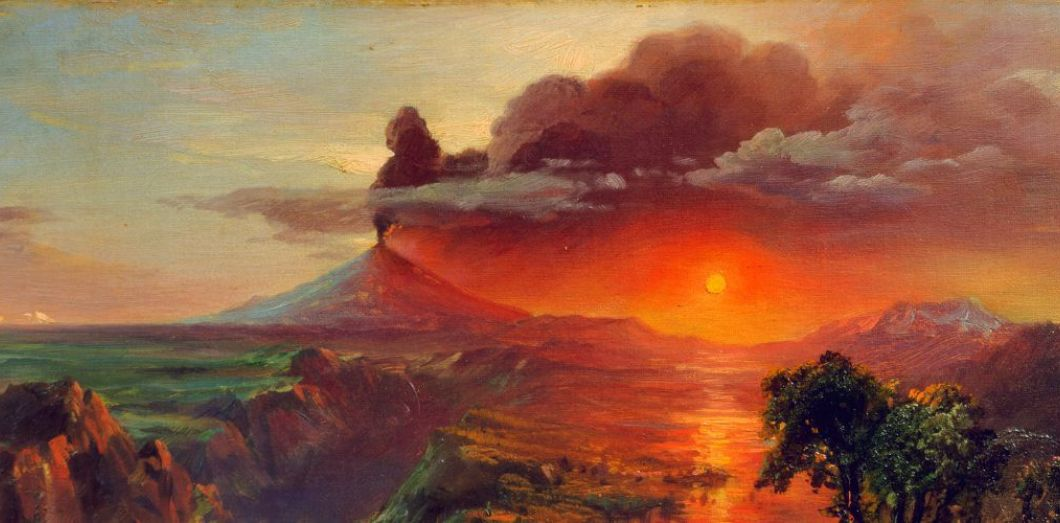 Eruption Du Volcan Tambora Imagine Par Frederic Church