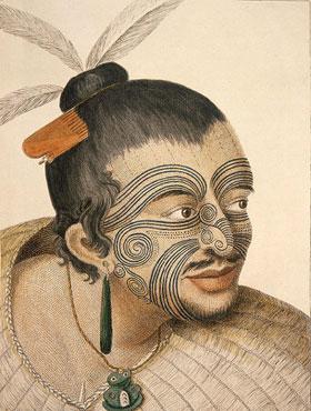 Sydney Parkinson, Portrait d'un homme maori, dans Journal d'un voyage aux mers du Sud, 1769