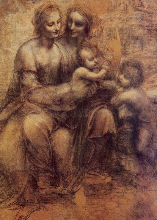 Sainte Anne, la Vierge et l'enfant Jésus bénissant Saint Jean Baptiste, carton préparatoire de Léonard de Vinci vers 1501 (National Gallery, Londres)