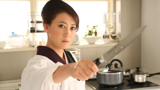 Shizue (Tomochika) takes exception to gangsters in her kitchen and decides to redecorate at the same time.