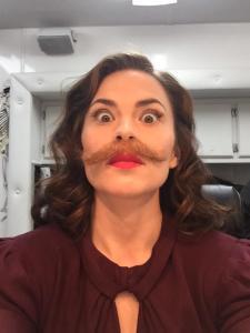 90 percent sure that's Dum-Dum Dugan's mustache -- but she wears it well.