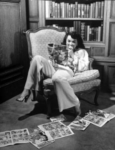 Woman reading comic