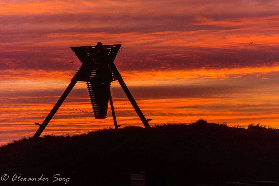Red sky behind Løkken - Denmark - sea sign