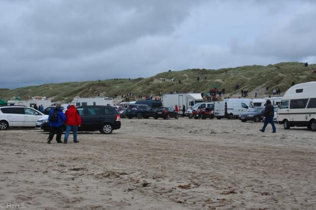 The beach is already full