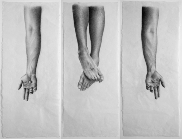 """""""SIN TÍTULO XVIII"""" Tríptico / Grafito sobre papel Japonés / 68 x 110 cm / ©Jacinto de Manuel"""