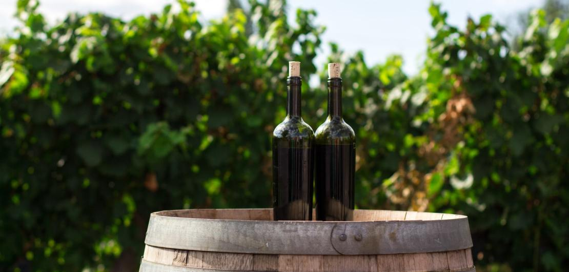 Weinflaschen auf Weinfässern