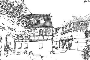 Fachwerkhaus im historischen Ortskern zum Ausmalen