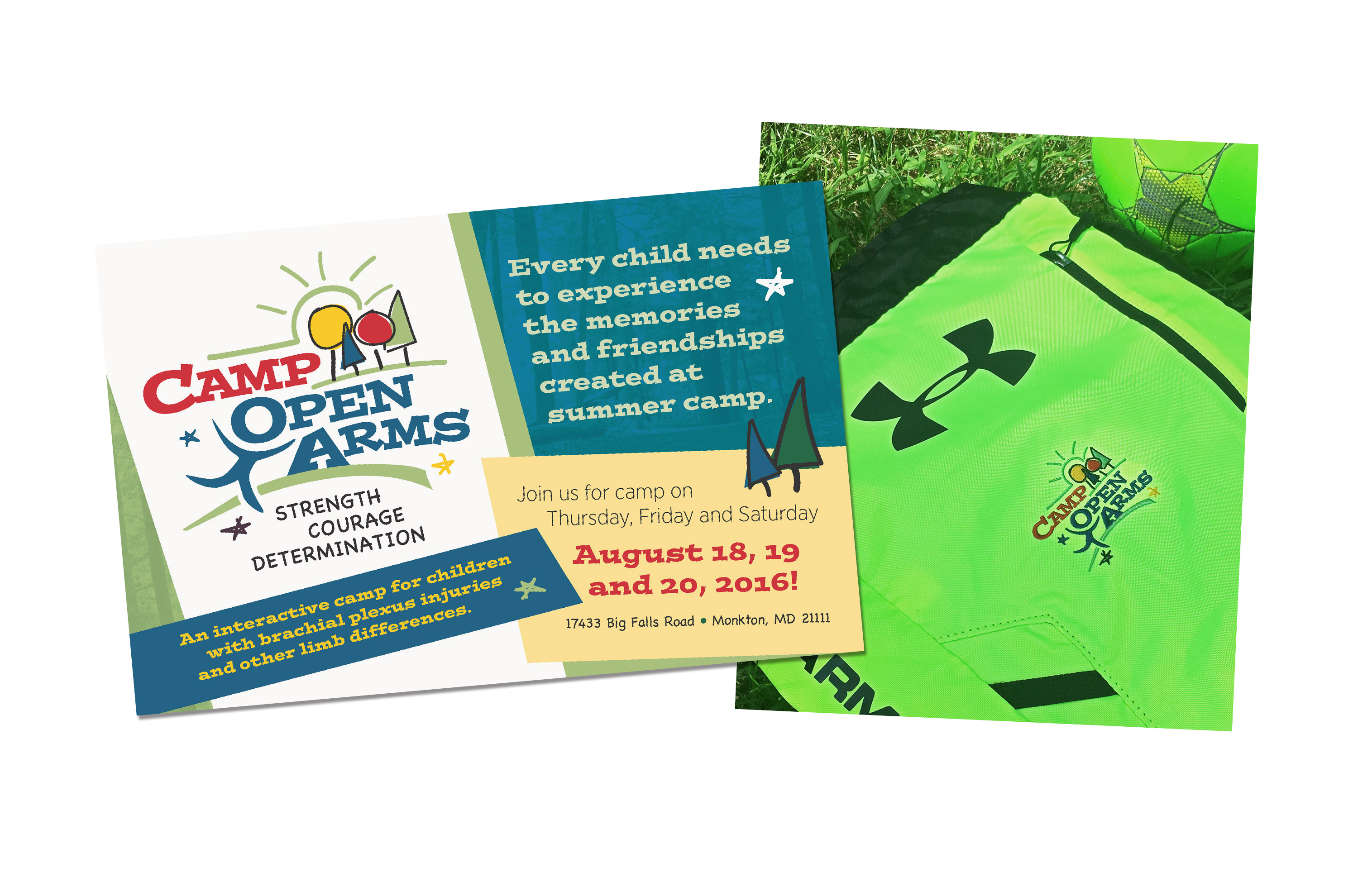 Camp Open Arms Card and Backpack